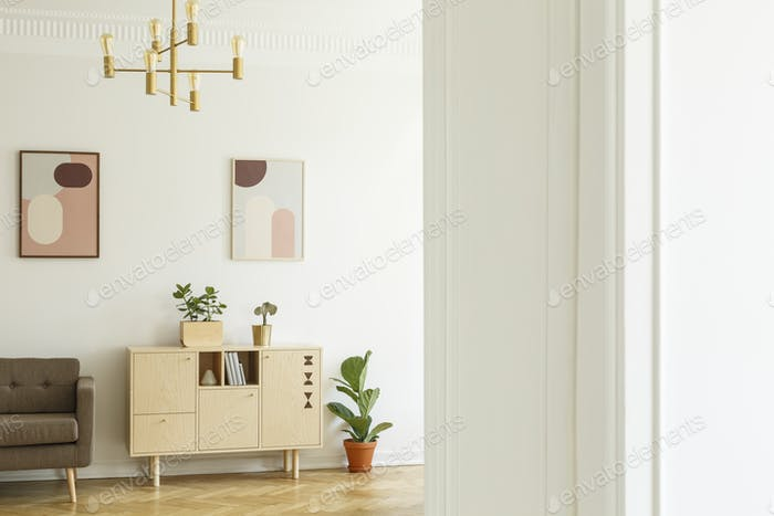 Retro style apartment interior with a minimalist, wooden cabinet