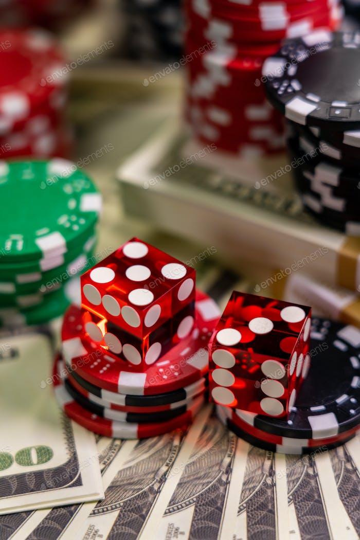 Casino Craps dice close up