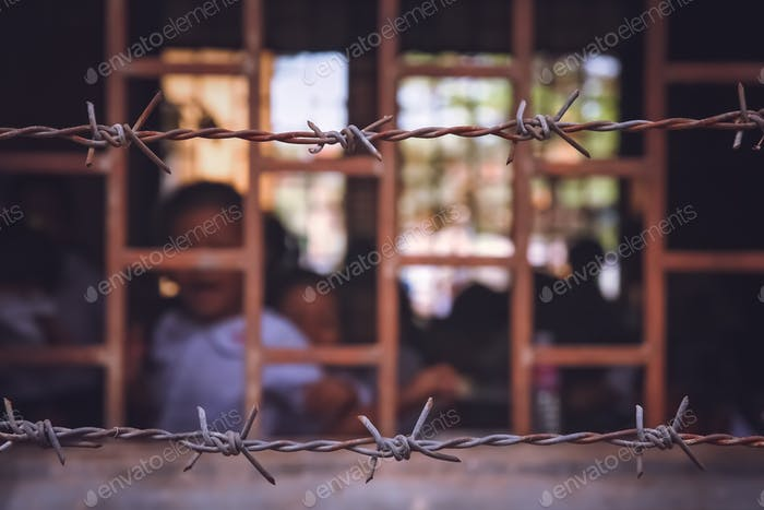 School behind barbed wires