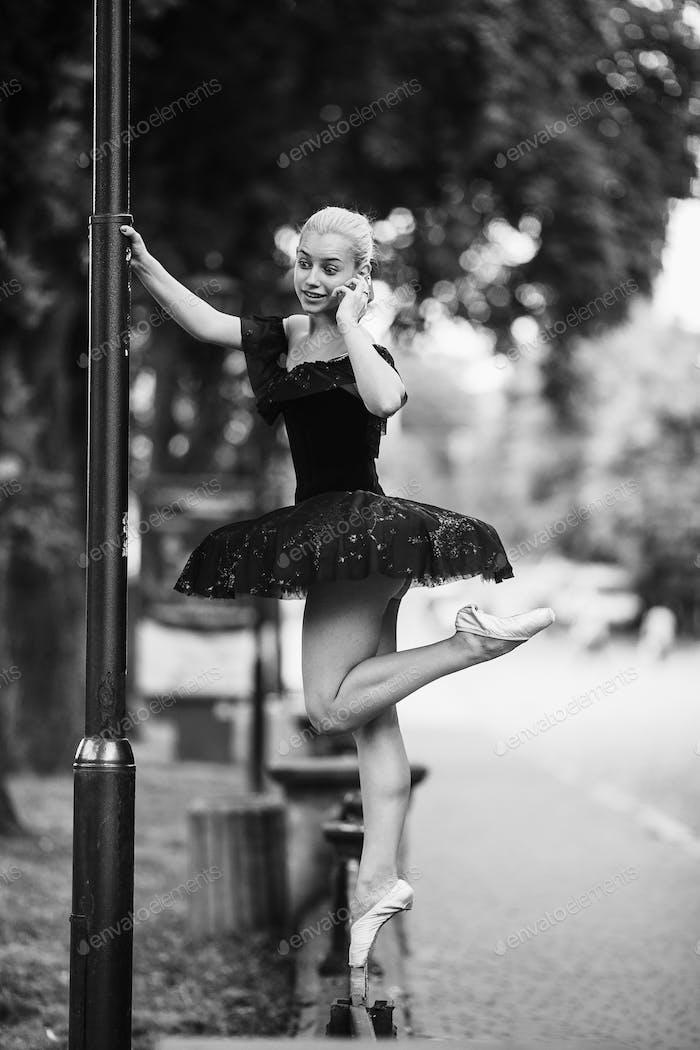 Ballerina talking on the phone