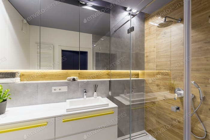Wood in modern bathroom interior