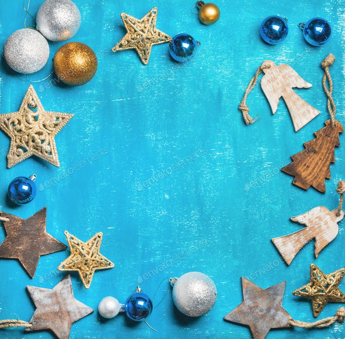 Christmas or New Year holiday background over wooden backdrop