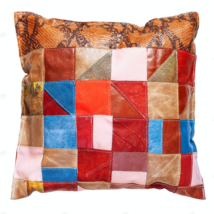 handmade colorful patchwork leather pillow