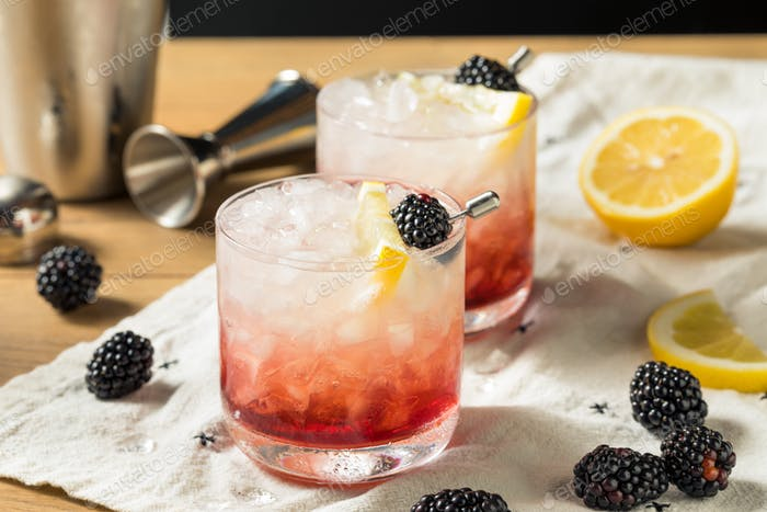 Alcoholic Blackberry Gin Bramble Cocktail