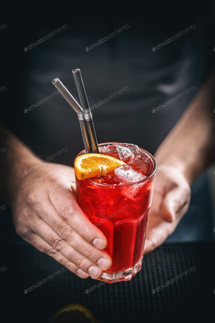 Red non alcoholic cocktail