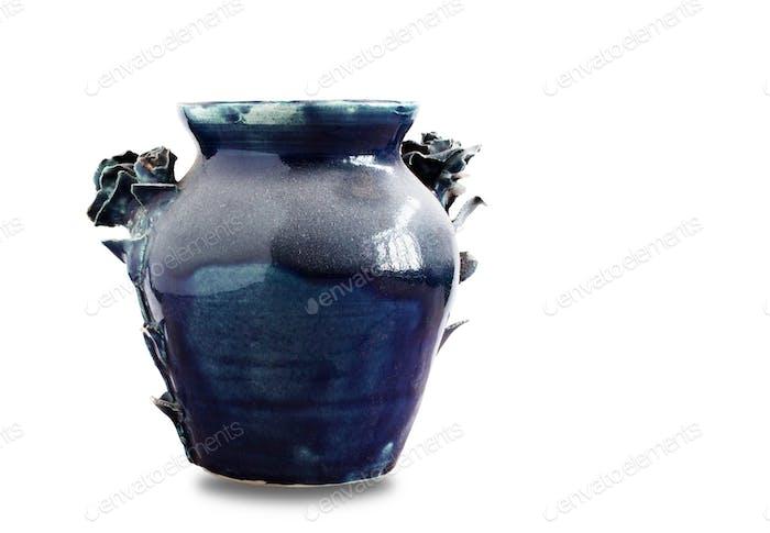 dusty vase on white background