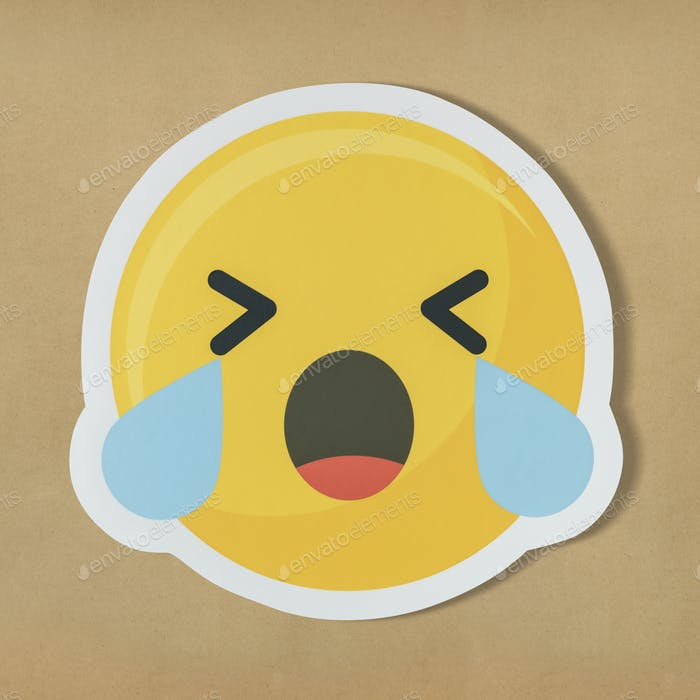 Sad crying face emoticon symbol