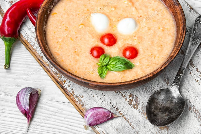 Gazpacho soup with basil