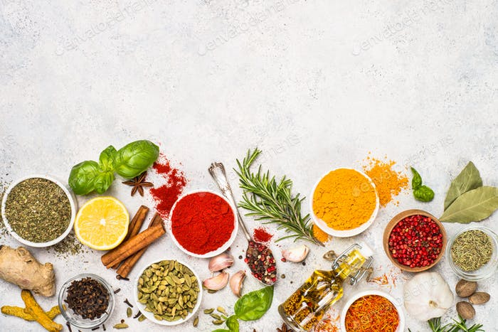 Set of various spices and herbs top view