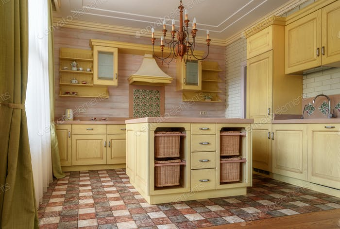 kitchen interior in modern country house