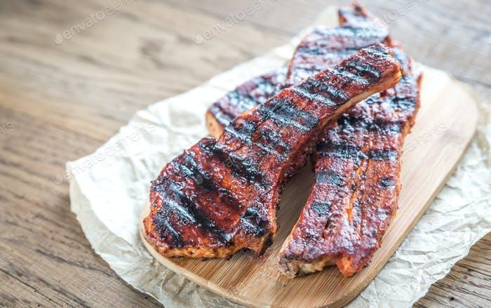 Grilled pork ribs on the baking paper