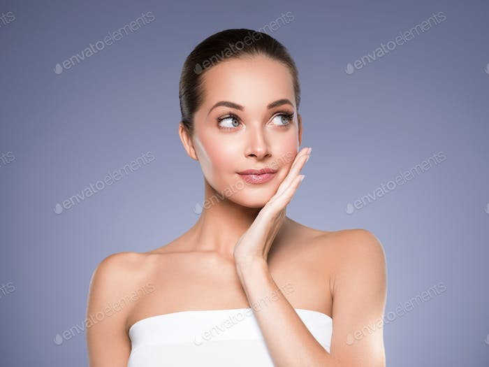 Skin care woman beauty face healthy face skin cosmetic model emotional and happy