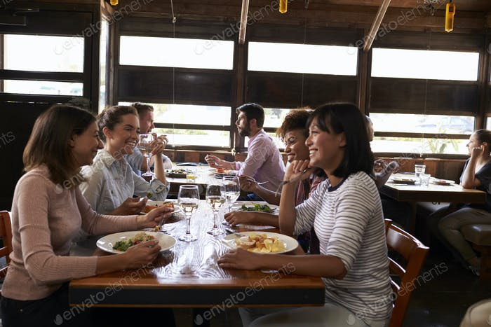Four female friends at a girls' lunch in a busy restaurant