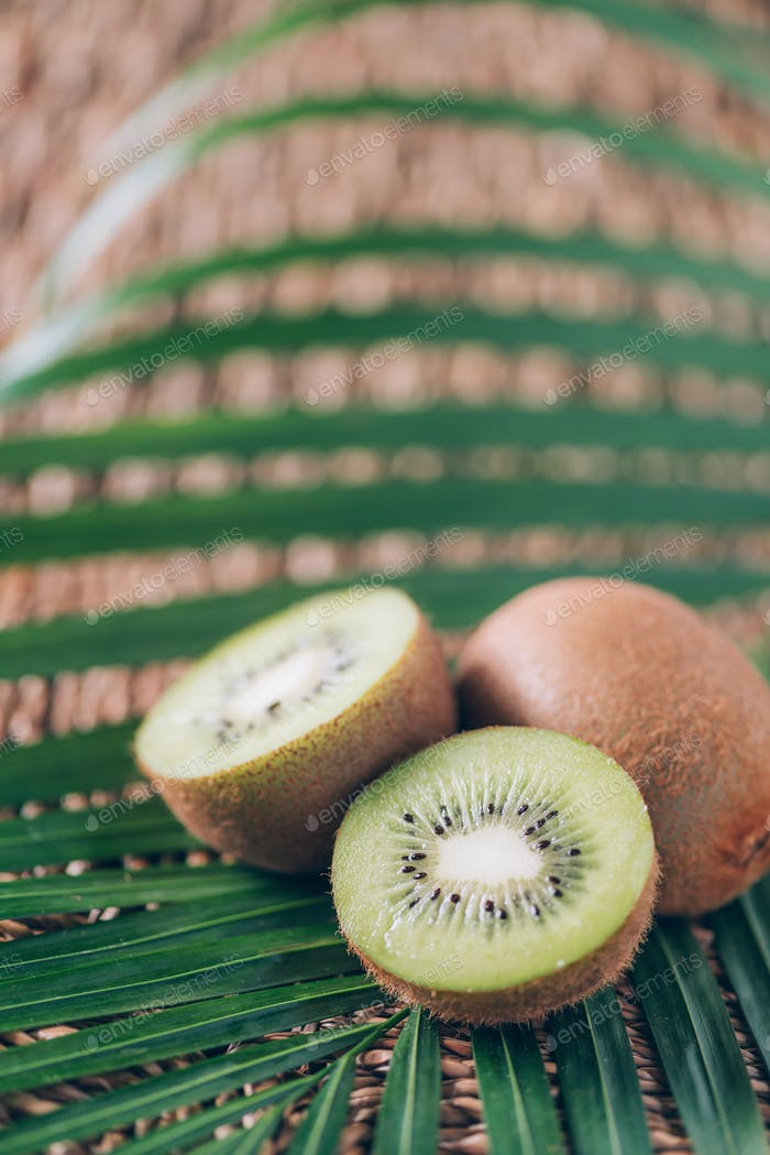 Juicy kiwi fruit over palm leaves on rattan background. Copy space. Tropical travel, exotic fruit