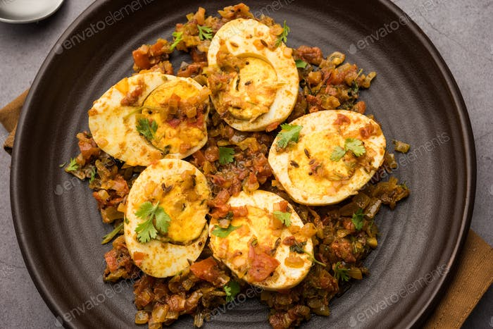 Masala Anda Fry made using chicken Egg is an Indian starter