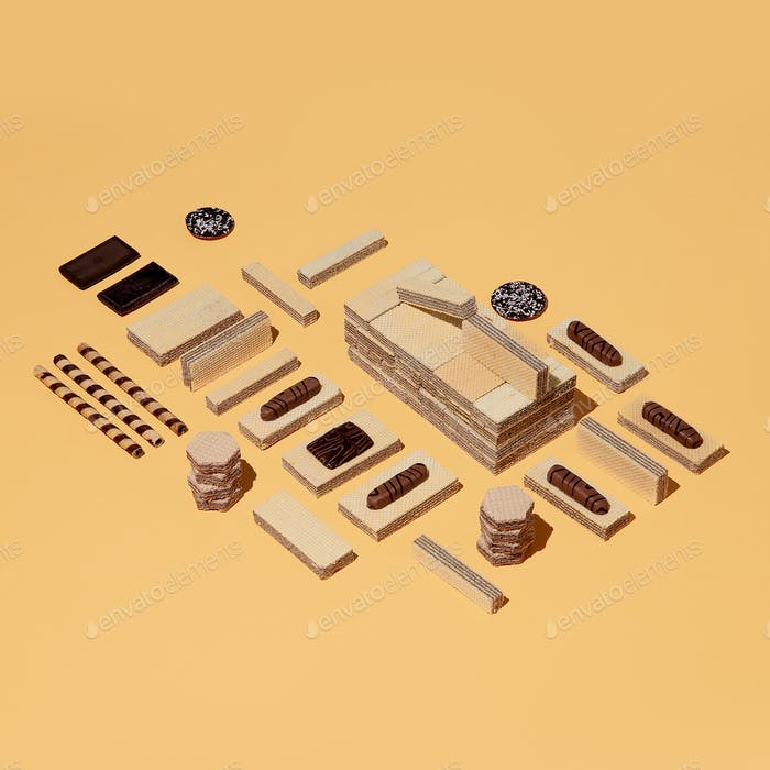 Waffle background and Chocolate in isometric space. Minimal still life food art fashion