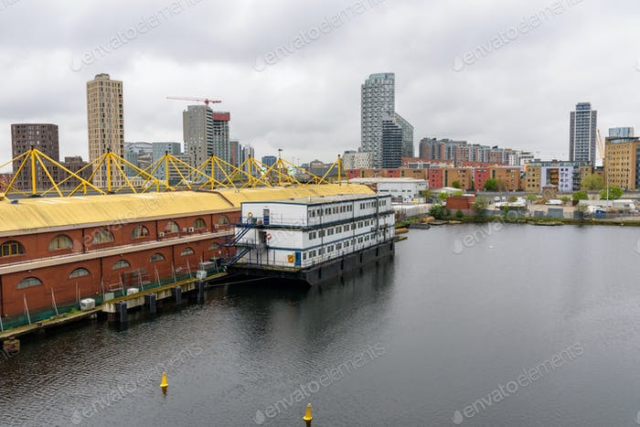 View of the North Dock in London docklands