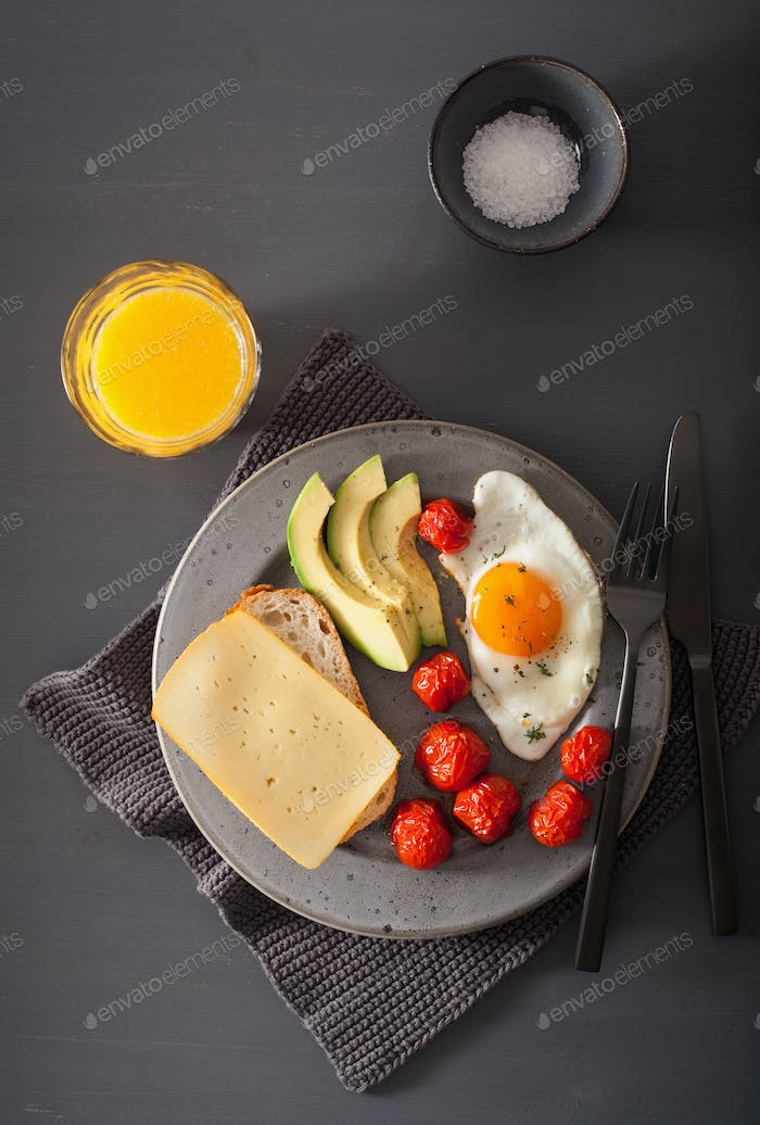 fried egg, avocado, tomato for healthy breakfast