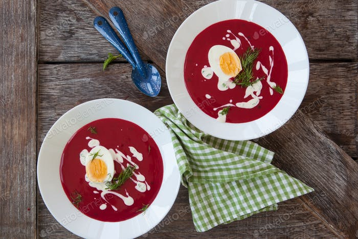 Red beet soup with creme fraiche