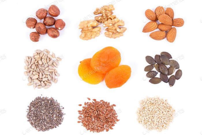 Healthy food containing iron, vitamins, minerals and dietary fiber, nutritious eating