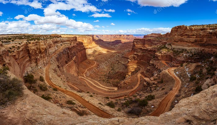 Panorama of Shafer Trail, Canyonlands National Park near Moab, Utah, USA