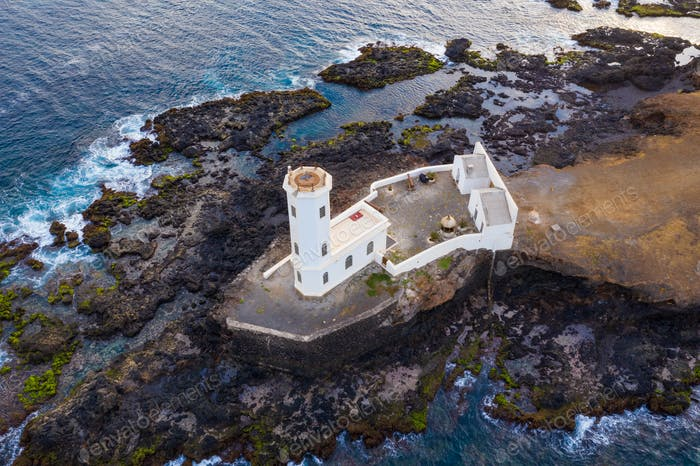 Aerial view of Praia lighthouse in Santiago - Capital of Cape Verde Islands - Cabo Verde