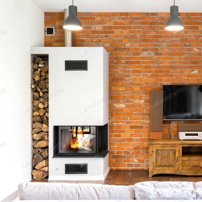 Brick wall room with fireplace