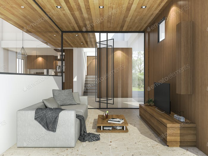 3d rendering nice living room with tv near garden with daylight