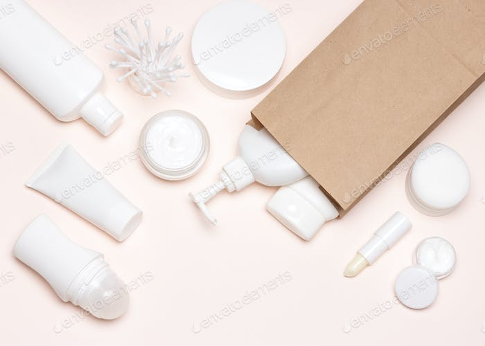 Cosmetic skin care products with paper merchandise bag