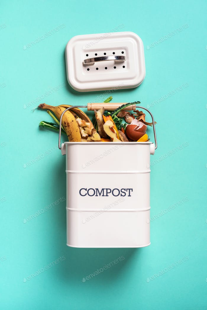 Recycle kitchen waste. Sustainable and zero waste living. Vegetable waste in recycling compost pot