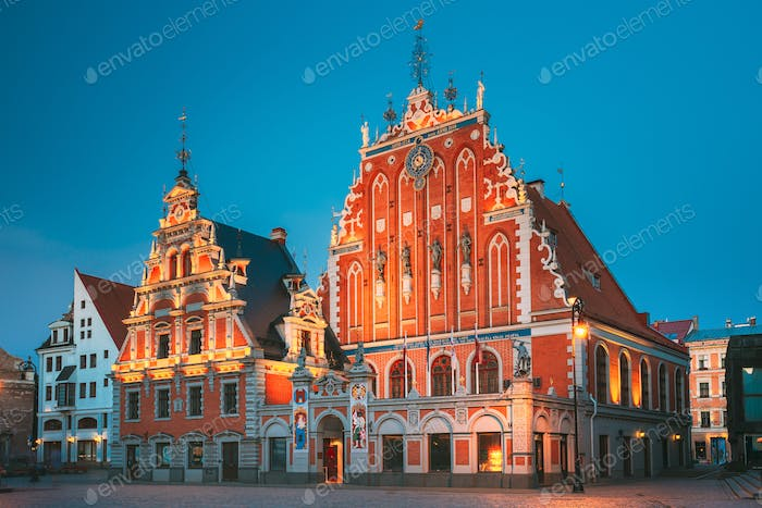 Riga, Latvia. Schwabe House And House Of The Blackheads At Town Hall Square, Ancient Historical