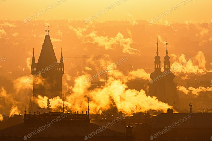 Prague foggy sunrise, Czech republic.