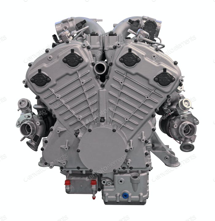 Modern car engine isolated on white background