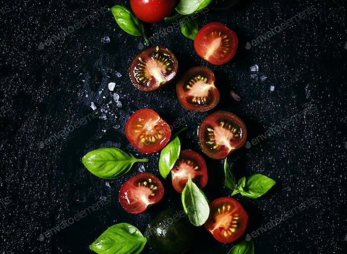 Food background, tomato, basil and salt
