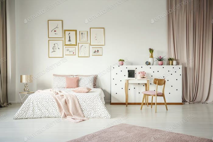 Pink pastel bedroom interior