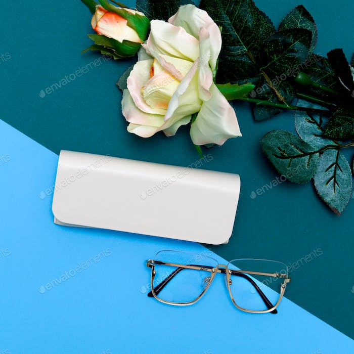 Fashion Glasses .Stylish accessories for women. Flat lay minimal