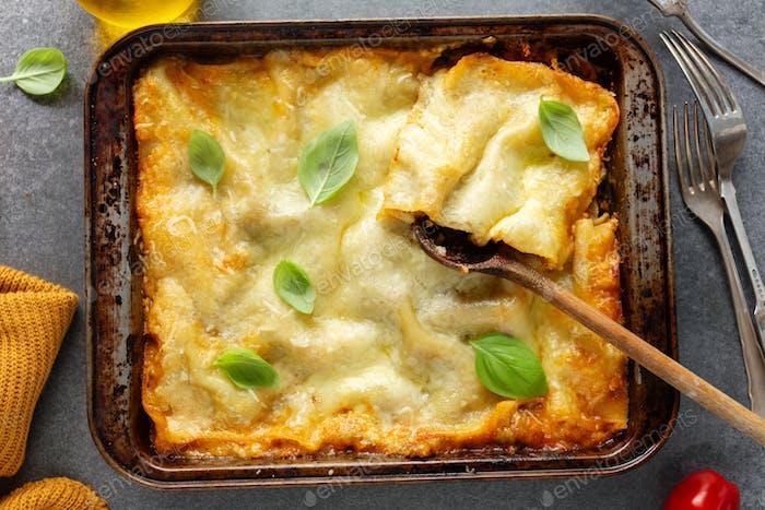 Tasty baked italian lasagne on casserole