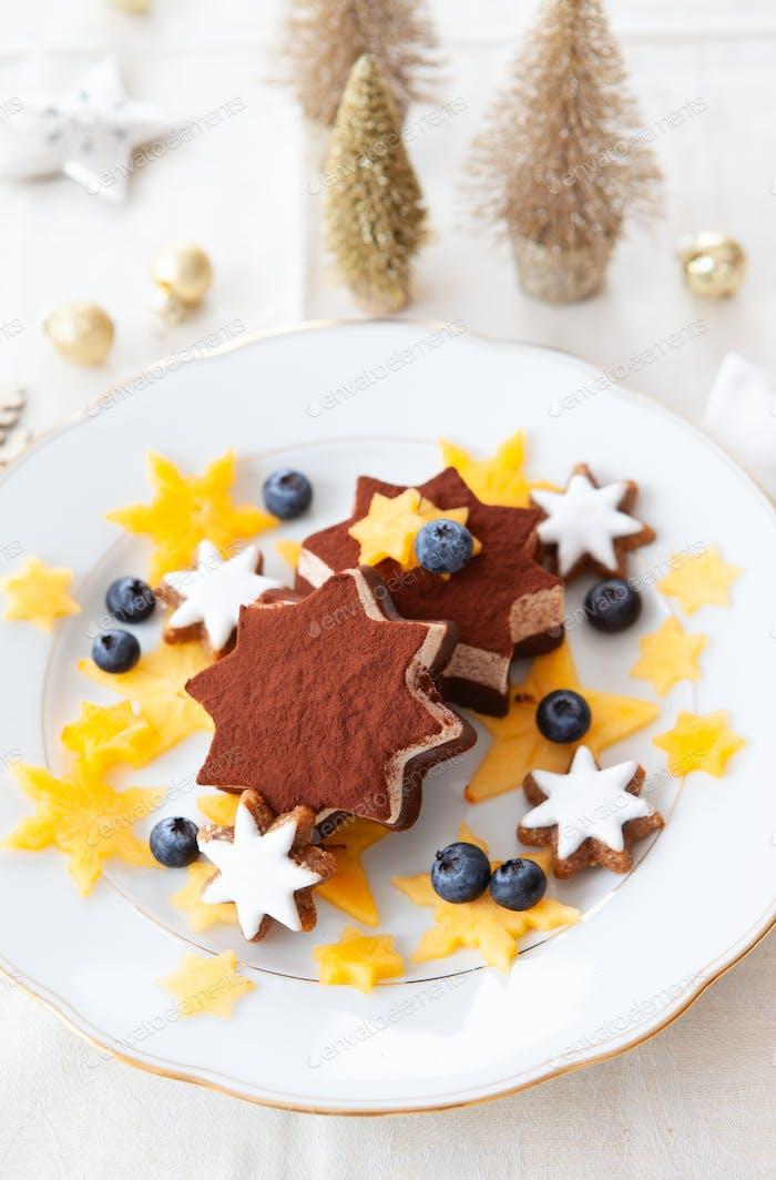 Festive ice cream dessert