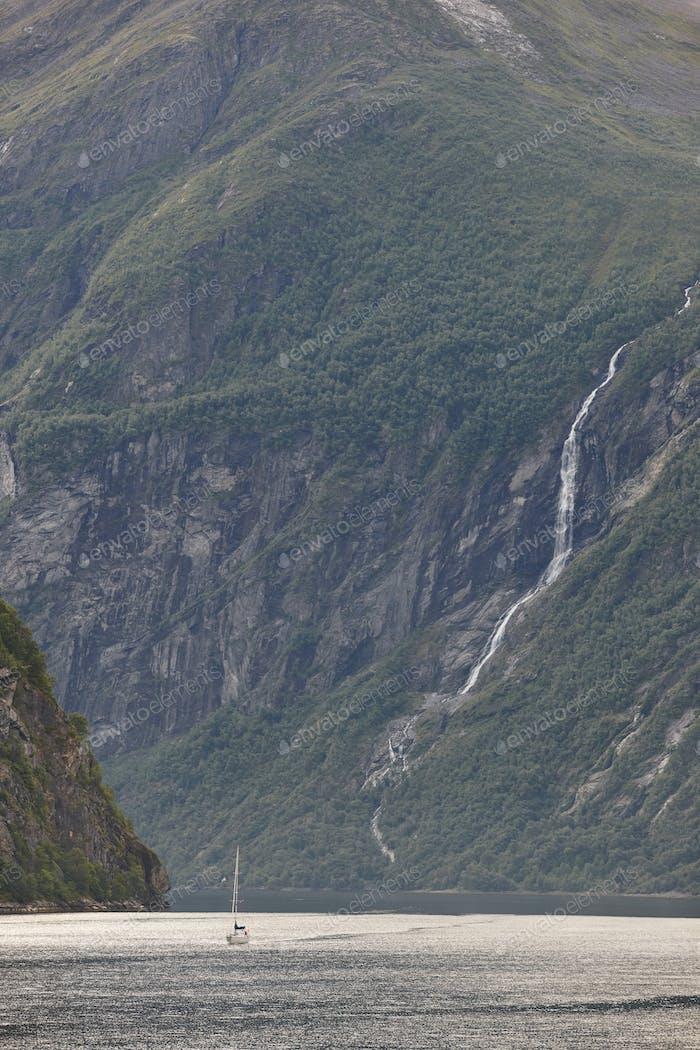 Norwegian fjord landscape. Yacht trip. Visit Norway. Tourism