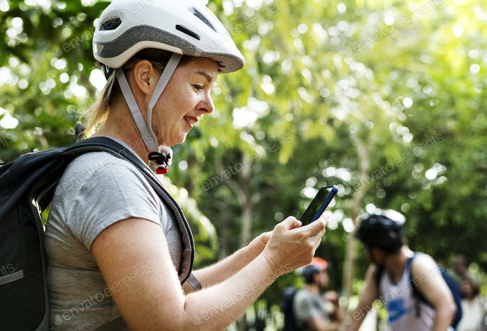 Woman checking the gps map