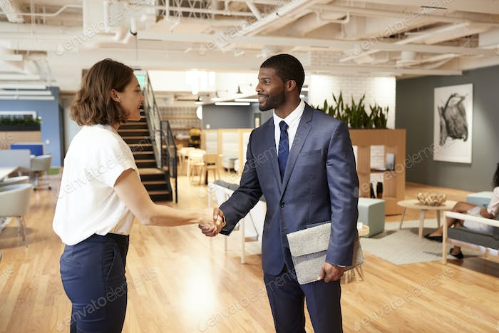 Businessman And Businesswoman Meeting And Shaking Hands In Modern Open Plan Office