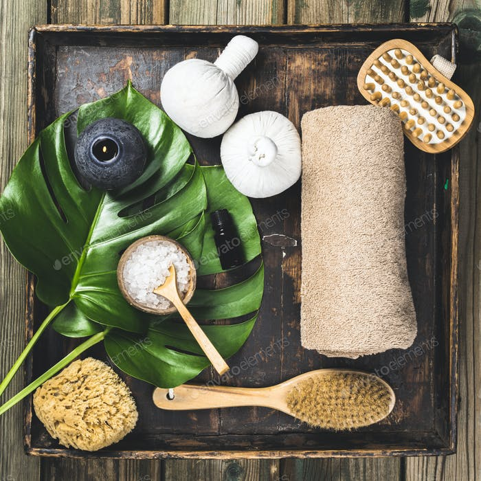 flat lay layout with monstera leaves and cosmetic care products