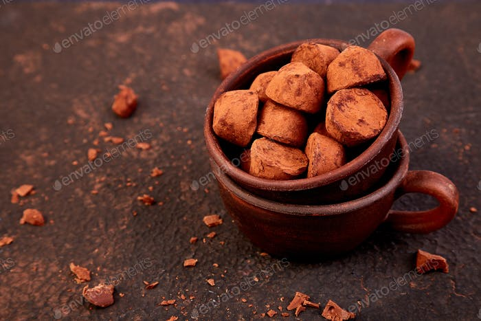 Chocolate Candy truffles in brown plate