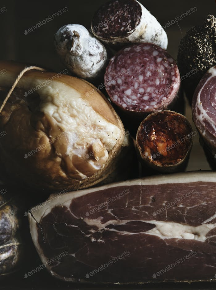 Closeup of charcuterie meat products