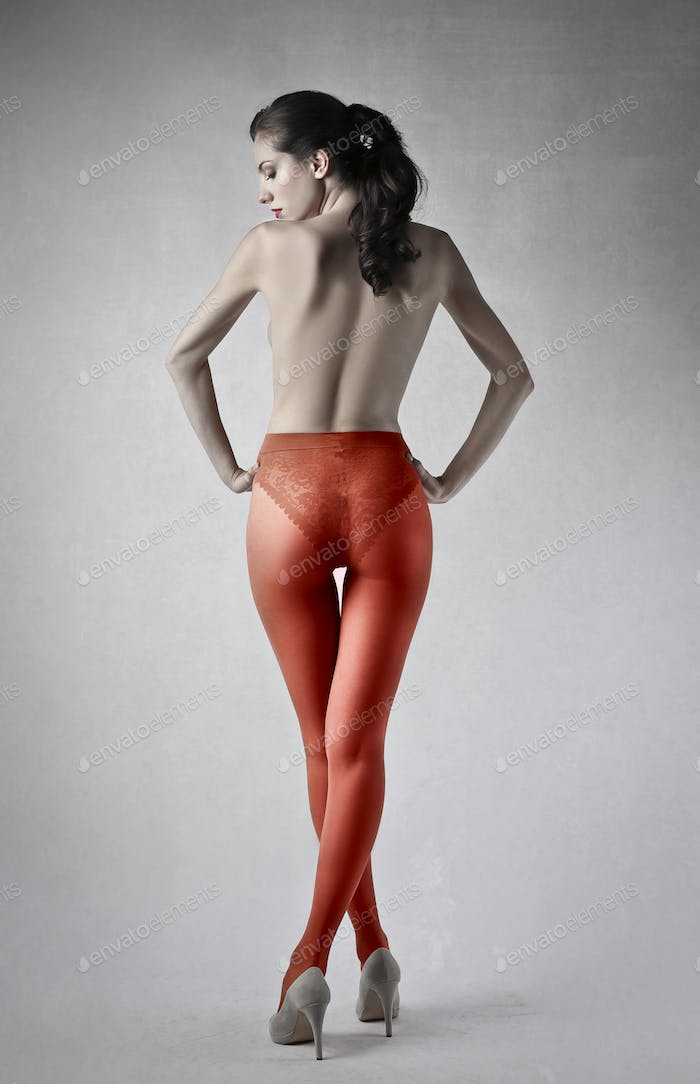 Woman wearing red tights