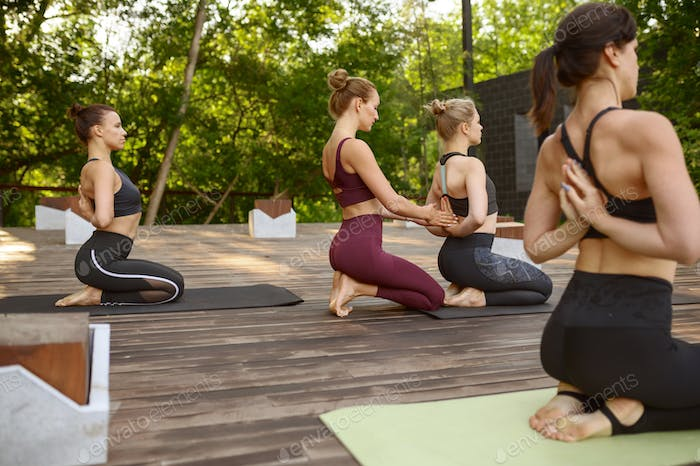 Athletic women on group yoga training in park