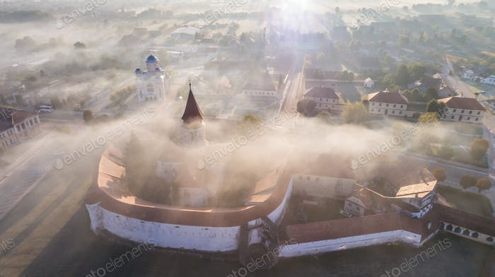 Aerial view of Prejmer fortified Church. Brasov, Romania