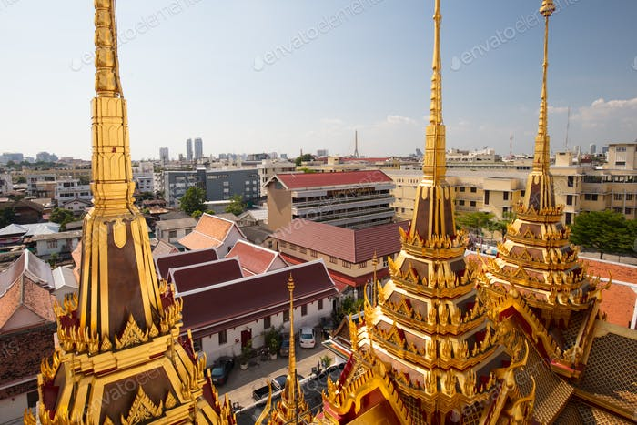 The ancient Loha Prasart buddhist temple in Bangkok, Thailand