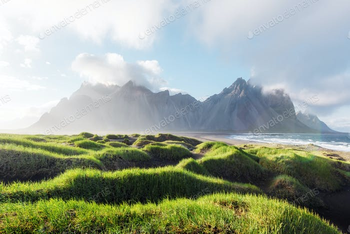 Gorgeous landscape with black sand desert dunes