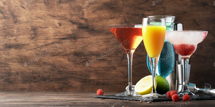 Set of summer alcoholic cocktails, popular bright refreshing colorful alcohol drinks and beverages
